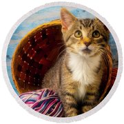 Kitten With Yarn And Basket Round Beach Towel