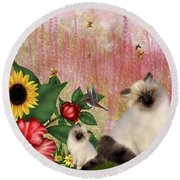 Kittens Garden Round Beach Towel