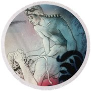 Round Beach Towel featuring the drawing Kittty In Trouble by Rene Capone