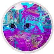 Kitty Collage Blue Round Beach Towel