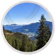Round Beach Towel featuring the photograph Kleinwalsertal, Austria by Andreas Levi