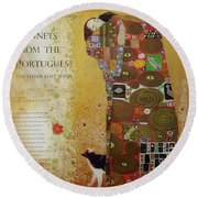 Klimt The Embrace With Calico Cat  Round Beach Towel