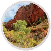 Kolob Canyon 1, Zion National Park Round Beach Towel