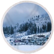 Koprivshtica Winter Panorama Round Beach Towel