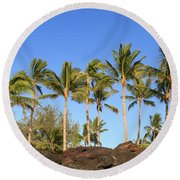 Golden Palms Round Beach Towel