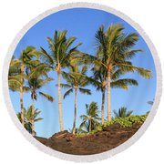 Golden Palms Round Beach Towel