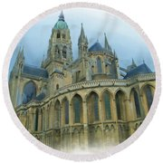 La Cathedrale De Bayeux Round Beach Towel