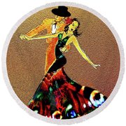 Round Beach Towel featuring the painting La Fiesta by Valerie Anne Kelly