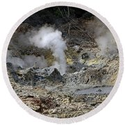 Round Beach Towel featuring the photograph La Soufriere Volcano by Tony Murtagh