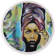 Lady Badu Round Beach Towel