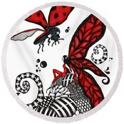 Lady Bug Fairy Round Beach Towel