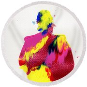 Lady Dressed In A Ballroom Gown Round Beach Towel