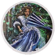 Lady In Forest Round Beach Towel