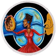 African Goddess Lady In Red Afrocentric Art Mother Earth Black Woman Art Round Beach Towel