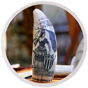 Lady Liberty Scrimshaw 1700s Round Beach Towel