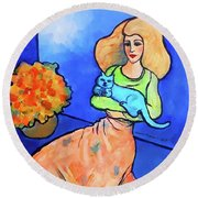 Lady With Blue Cat Round Beach Towel