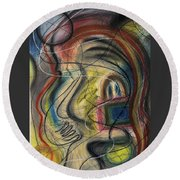 Lady With Purse Round Beach Towel