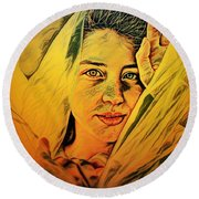 Lady Wrapped In Strings Round Beach Towel