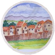 Laguna Del Sol Row Houses Round Beach Towel