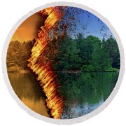Lake Forest Fire Round Beach Towel