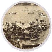 Lake Hopatcong Yacht Club Dock - 1910 Round Beach Towel