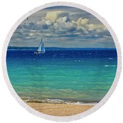 Lake Huron Sailboat Round Beach Towel