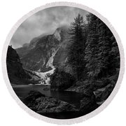 Lake In The Dolomites Round Beach Towel