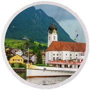 Lake Lucerne Steamer Round Beach Towel
