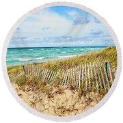 Lake Michigan Beachcombing Round Beach Towel