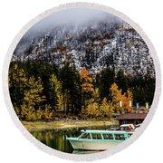 Lake Minnewanka, Banff National Park, Alberta, Canada Round Beach Towel
