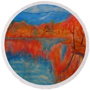 Lake Mirror Round Beach Towel
