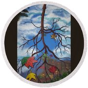 Lake Reflections - Autumn Round Beach Towel