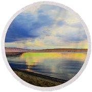Lake Superior Sunset Round Beach Towel