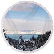 Lake Tahoe Panorama Round Beach Towel