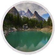 Lake Verde In The Alps II Round Beach Towel