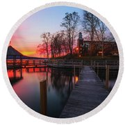 Lake Winnipesaukee Sunrise Round Beach Towel