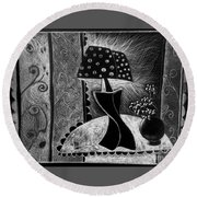 Lamp And Flowers. Round Beach Towel