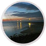 Lancashire. Knott End. Sunset.. Round Beach Towel