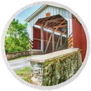 Lancaster Covered Bridge Round Beach Towel