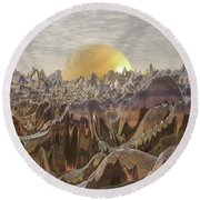 Land Of The Golden Orb Round Beach Towel