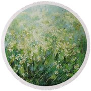 Landscape. Get Lost In A Field Of Daisies Round Beach Towel