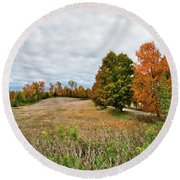 Landscape In The Fall Round Beach Towel