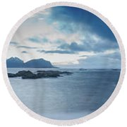 Landscape In The Lofoten Islands Round Beach Towel