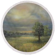 Landscape Of A Meadow With Sun And Trees Round Beach Towel