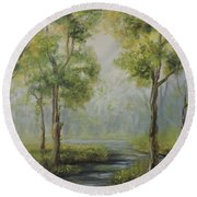 Landscape Of The Great Swamp Of New Jersey With Pond Round Beach Towel