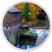Lanterman's Mill In Fall Round Beach Towel