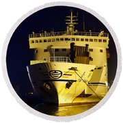 Large Ferry Docked In Port By Night Round Beach Towel