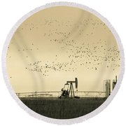 Large Flock Of Birds And Oil Rigs Round Beach Towel