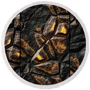 Large Gold Stone Triptych Round Beach Towel