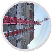 Large Scale Construction Site With Crane Round Beach Towel